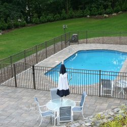 pool with gated fence